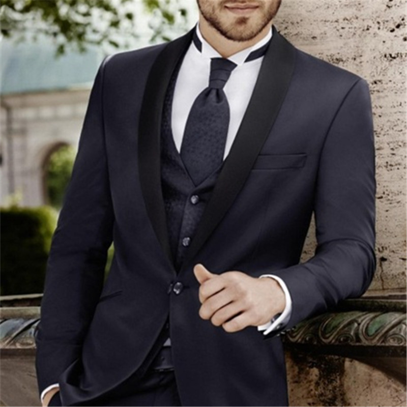 One Button Navy Blue Shawl Lapel Wedding Suit For Men 3Pieces(Jacket+Pant+Vest+Tie) Custom Made Masculino Blazer 558