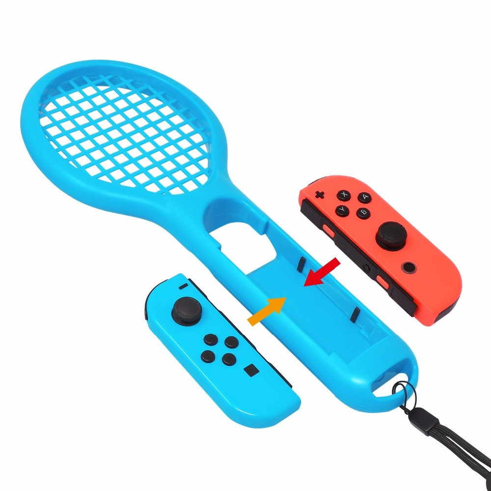2pcs Pack Tennis Racket For Nintendo Switch Joy Con Accessories Mario Aces English Us Games Game Controller Grips Blue And Red In Replacement Parts