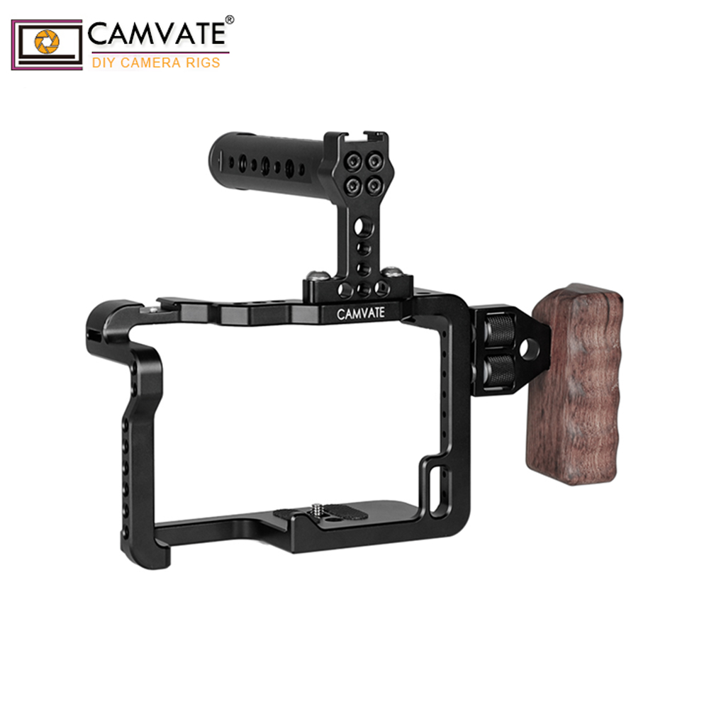 CAMVATE GH5 Full Cage Kit With Handles And Shoe Mountsp C1909-in Photo Studio Accessories from Consumer Electronics