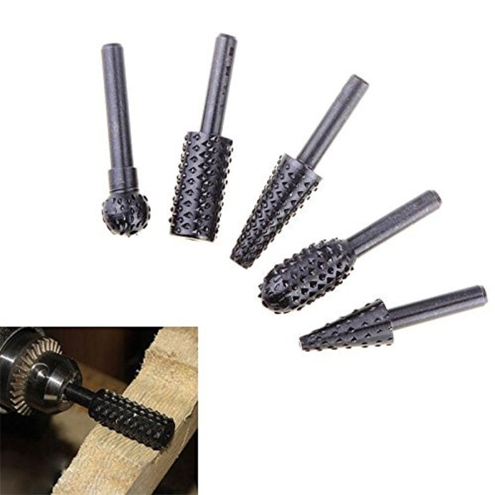 Rotary Burr Set 5 Piece Set Of Heavy Duty And Durable 14 Shank Rotary Rasp File Set Wood Carving Free Shipping