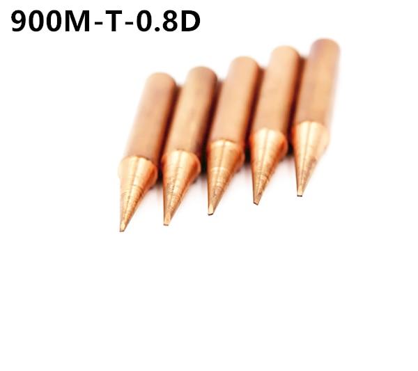 5piece 900M-T-0.8D Lead-free Red Copper Pure Cupper Solder Tip  For Hakko 936 FX-888D Saike 909D 852D+ 952D Diamagnetic DIY