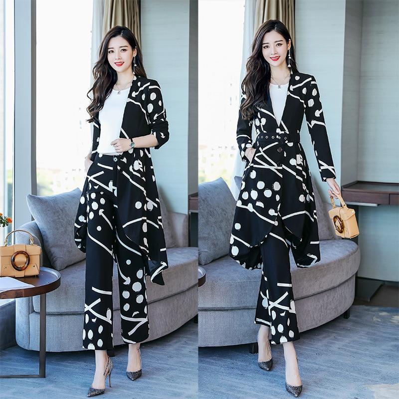 Reparação moda impressão terno das mulheres terno das mulheres two piece suit (casaco + calça) calças ternos para mulheres - 5