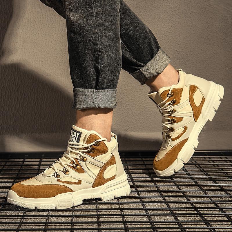Homem Novo 2 Casuais Para Canvas Masculino Sapatos Masculina Botas Couro Calçado Outono Homens De 1 Top Moda 3 Alta Inverno Dos PqvH4f