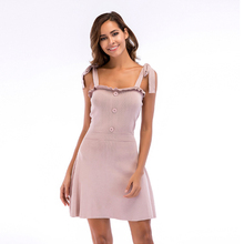 Summer Fashion Women Sashes Spaghetti Strap Dresses Sleeveless A line Solid Casual Mini Dress Clothes