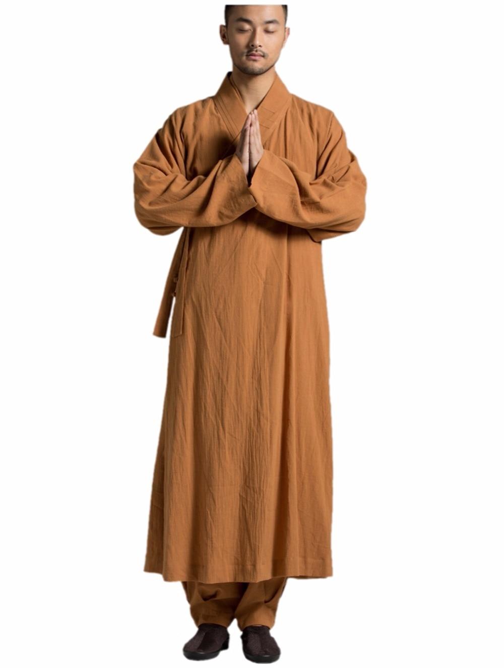 ZanYing Buddhist Meditation Monk Robe Traditionell Gown Orange - Nationella kläder