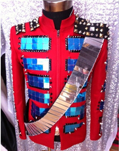 Plus size men red mirrors sequin strap blazer jacket male singer DS show stage wear costume nightclub show Outerwear DJ outfit