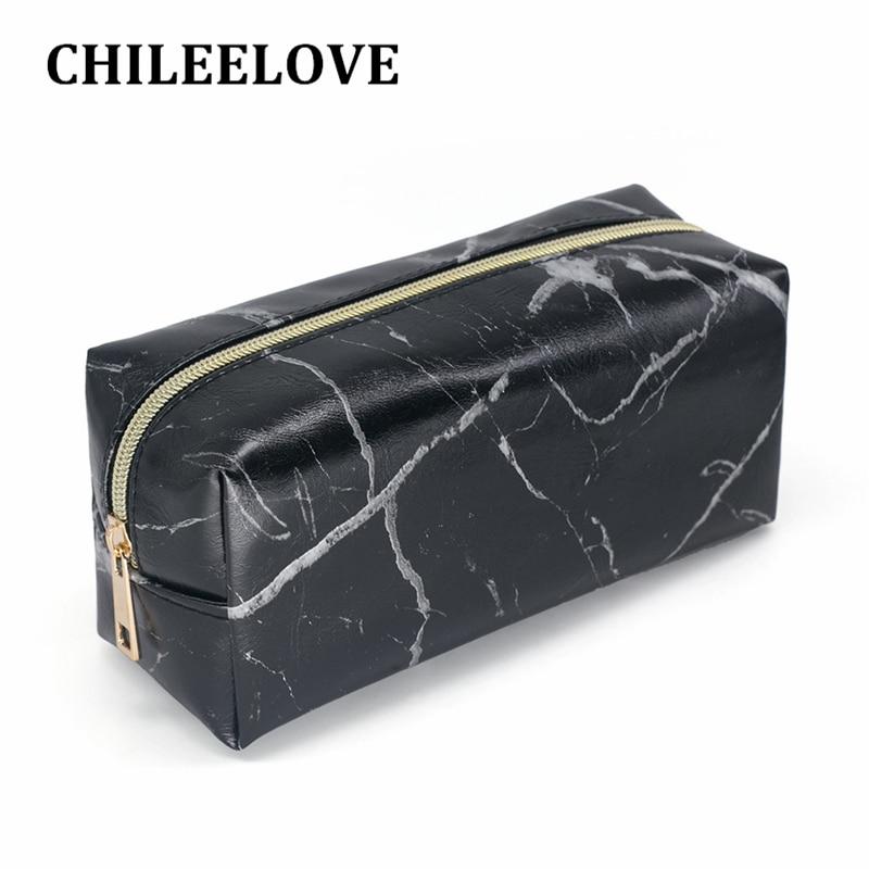 CHILEELOVE Black PU Marble Pattern Cosmetic Makeup Brushes Kit Bag Rectangular Handbag Pouch Fashion Bag High Capacity