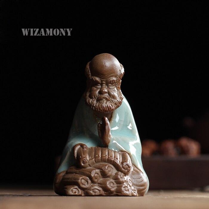 Chinese Traditionele Thee Huisdier Bodhidharma Thee Voorouder Lu Yu Chinese Paarse Klei Geglazuurd Boeddhisme Art & Collectible Woondecoratie Geselecteerd Materiaal