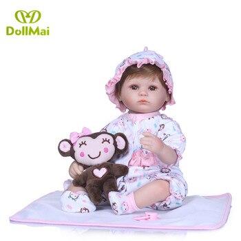 Reborn baby dolls 40cm soft silicone reborn baby doll with monkey plush dolls lovely girl bebe gift reborn bonecas