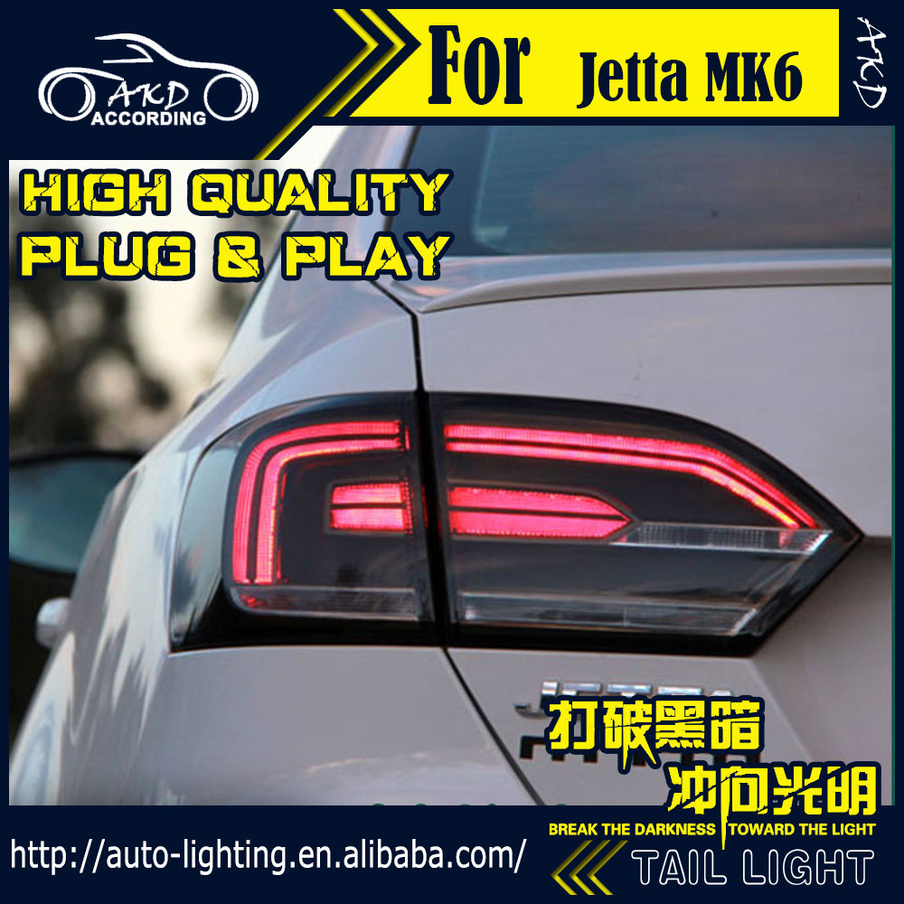 AKD Car Styling Tail Lamp for VW Jetta Tail Lights Jetta MK6 LED Tail Light LED Signal LED DRL Stop Rear Lamp Accessories new men s crazy horse genuine leather messenger shoulder pack documents business portable clutch bag portable wrist bag