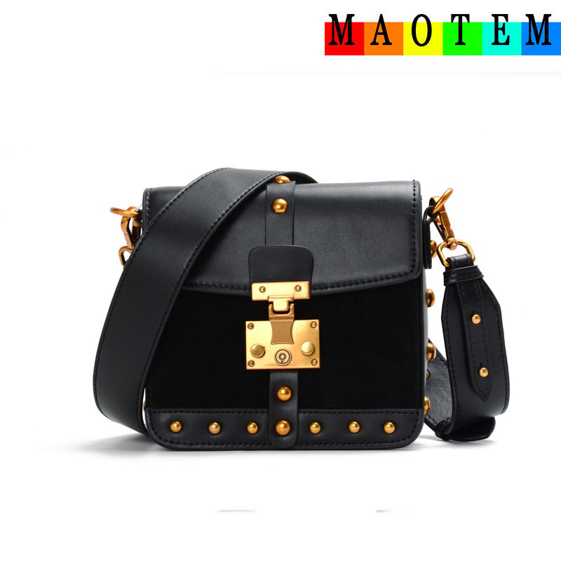 MAOTEM Factory Price!Scrub Box Bags for Women 2017,Women Genuine Leather Messenger Bag,High Quality Crossbody Bags,Tote Flap Bag hot 2017 classic scrub tote with chain box tote crossbody bags women split leather handbags lady messenger bag for female an868