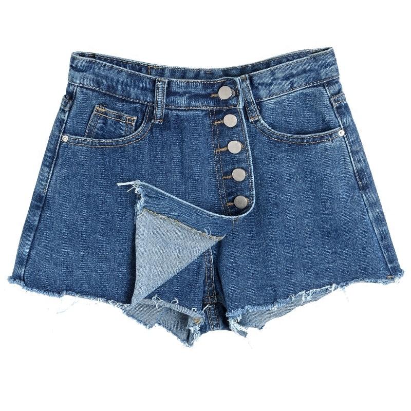Fashion 2019 Spring Summer Frayed Blue High Waist Denim   Shorts   Women Slim Casual Fromt Button Jeans   Shorts   Skirts
