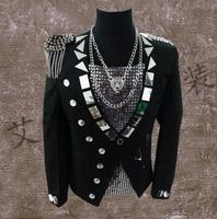 Men Suits Designs Black Lenses Stage Singers Men Sequin Blazer Dance Tassel Badge Clothes Jacket Style