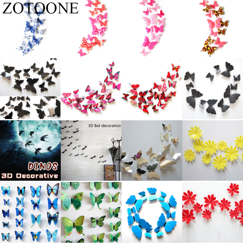 ZOTOONE DIY Butterfly Birthday Christmas Halloween Party Decoration 3D Flower Wall Stikcers For Mariage Wedding Home Decor 12Pcs