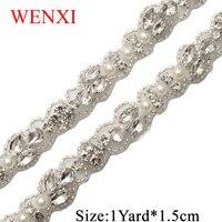 WENXI 10YARD Crystal Rhinestone Applique Sewing On stick on Bridal beaded Trim For Wedding Dress Sash belt Haed band WX883