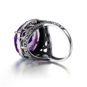 Image 5 - Szjinao Real 925 Silver Women Amethyst Gemstone Ring Wedding Rings Handmade Processing Victorian Antique Jewelry Star Of David