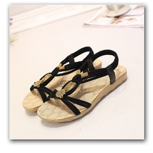 Women Sandals  Shoes Woman Summer Fashion Flip Flops Ladies Shoes Sandalias Mujer Plus Size 36-42 Black beige