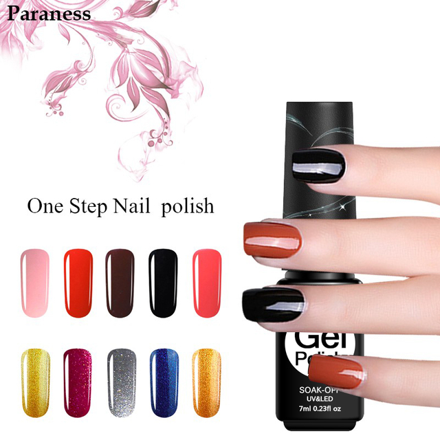 Paraness 24 Pure Color Foil Adhesive 3in1 Gel Polish Brand Nail One Step Varnish