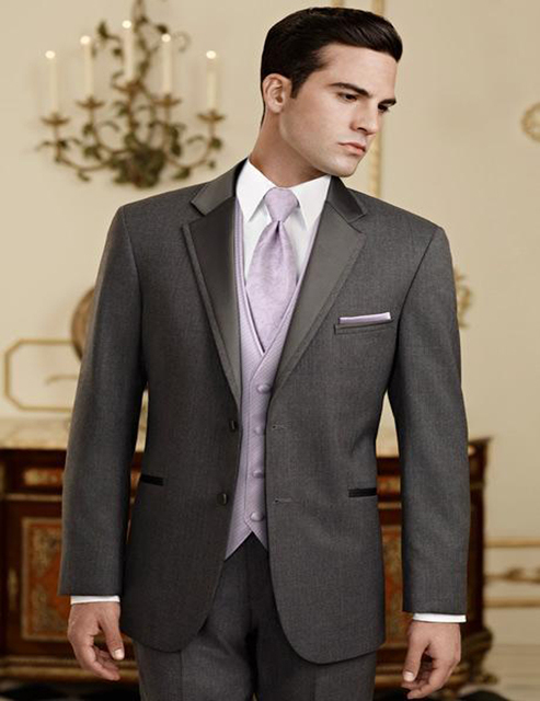 Brand New Groomsmen Notch Lapel Groom Tuxedos Charcoal Grey Men Suits Wedding Best Man Blazer