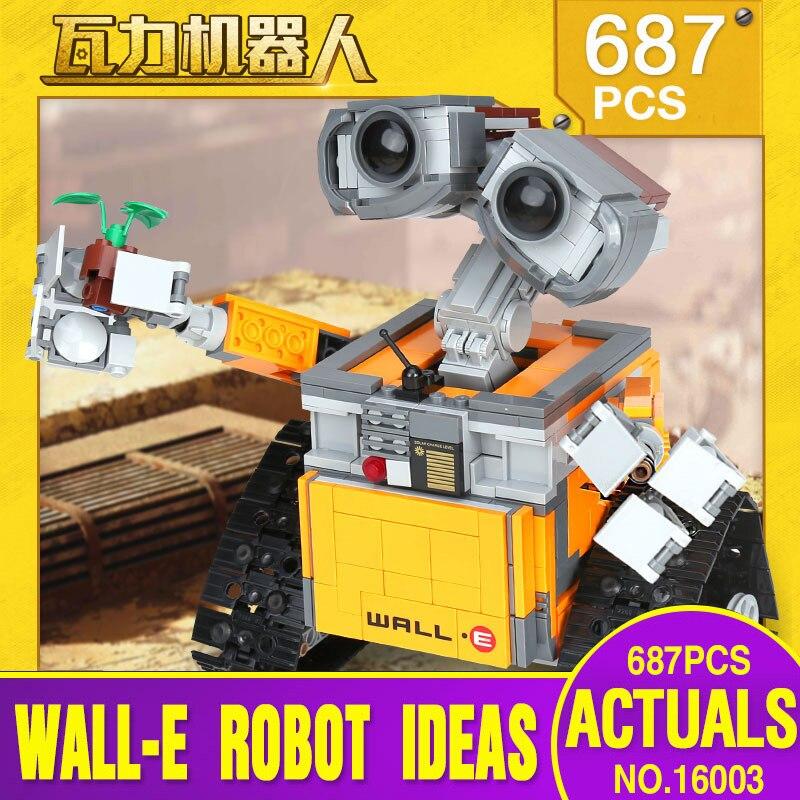 Lepin 16003 Idea Robot WALL E Educational Building Set Kits Bricks Blocks Bringuedos Compatitable Children legoing Toys 21303 new lepin 16003 687pcs idea robot wall e educational building set kits bricks blocks bringuedos compatitable children toys 21303
