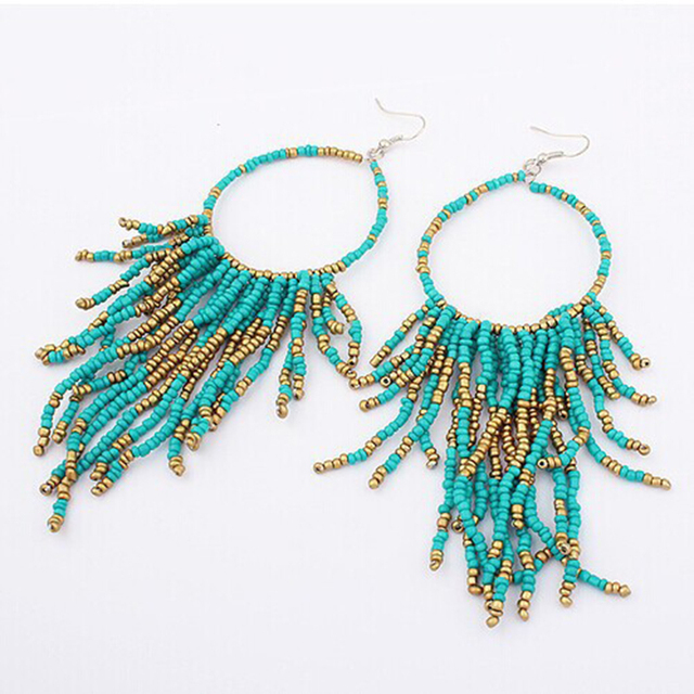 Vintage Bohemia Handmade Beaded Earrings Multilayer Tels Bead Dangle Fashion Femal Jewelry Special We886