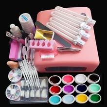 Профессиональный 36 Вт УФ-гель-белая лампа и 12 цветов УФ-гель-инструменты для дизайна ногтей наборы ногтей гель для ногтей Набор для маникюра YL066
