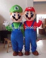 Взрослых Размеры Супер Марио и Луиджи Маскоты костюм маскарадный костюм для Хэллоуин костюмы для праздников