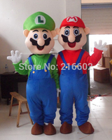 Adult Size Super Mario and Luigi Mascot Costume Fancy Dress for Halloween party costumes