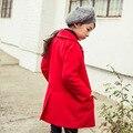 Корейский стиль дети длинные пальто девушки красный ребенка девушка куртка девушки пальто осень-зима одежда для маленьких девочек-подростков одежда