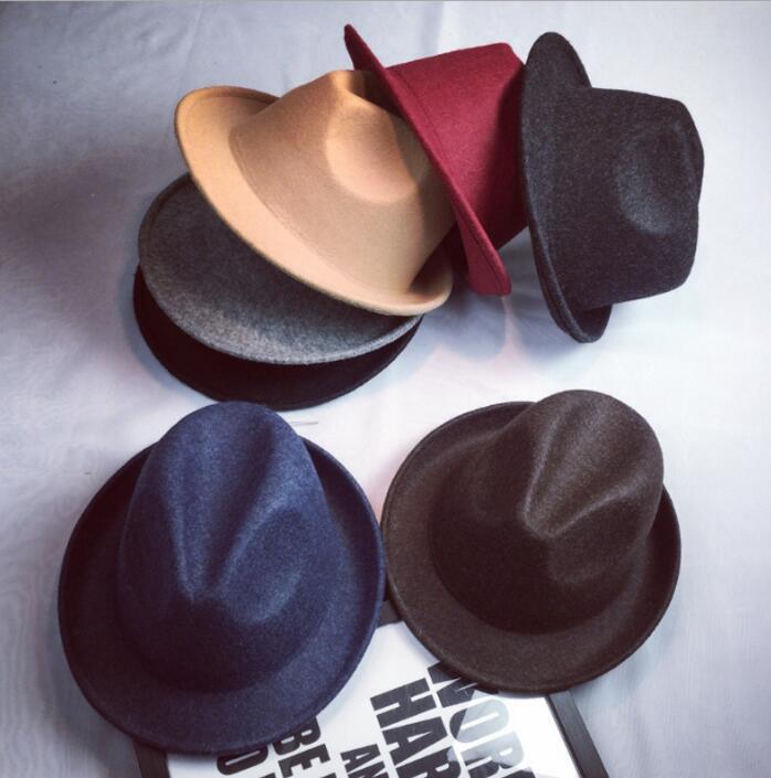 7b162e938e4ae5 100% Wool Fedora Hat For Men Women Woolen Autumn Felt Trilby Dome Church  Cloche Cap
