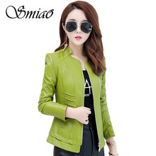 Smiao Plus Size 4XL Coat 2018 Autumn PU Faux Leather Outwear Winter Female Jacket Zipper Womens Clothing M-4XL