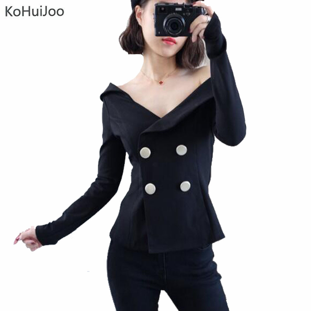 d8a8b051a91b ... about KoHuiJoo Black White Sexy Off Shoulder Blazer Double Breasted  Slash Neck Vintage Slim Coats Office Lady Casual Women Suit Jacket on  Aliexpress.com ...