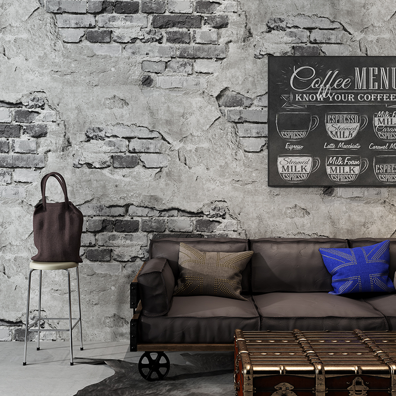 Brick Pattern Wallpaper Retro Nostalgic Gray Cement Brick Wall Industrial Wind Cafe Restaurant Background Decor Vinyl Wall Paper