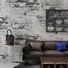 Diseño de ladrillo papel pintado Retro nostálgico Gris Cemento pared Industrial viento café restaurante Fondo decoración vinilo papel de pared