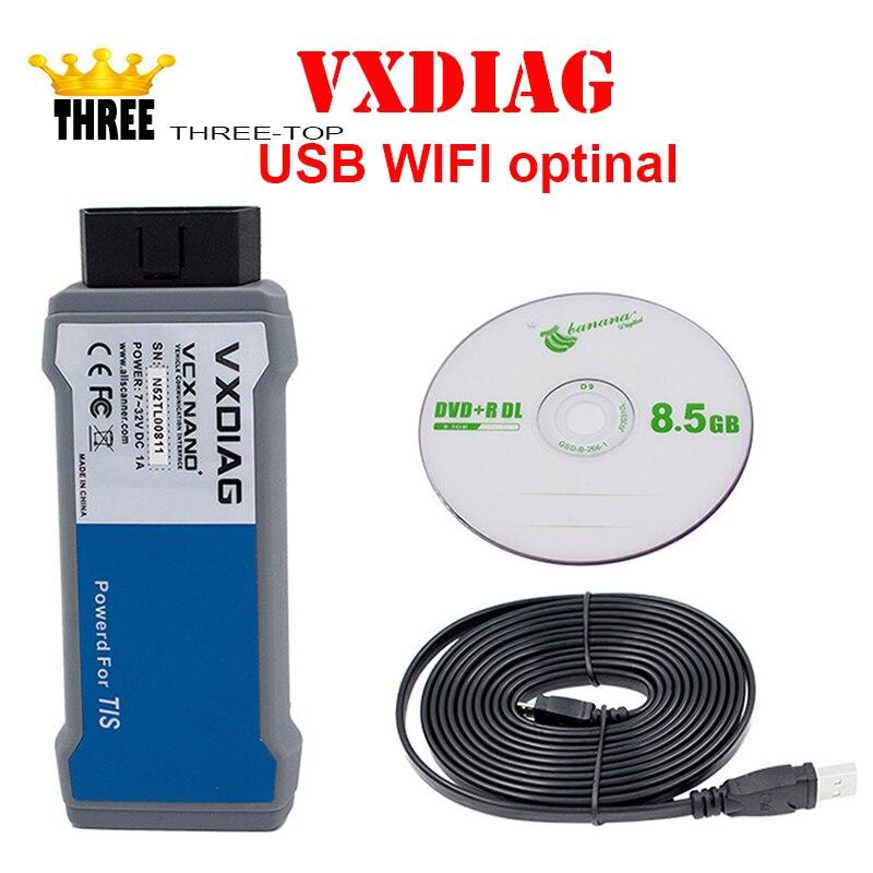Новинка 2017 года поступления vxdiag VCX Nano для TOYOTA ТИС последние v10.30.029 USB 2.0 полностью совместим с SAE J2534 vxdiag Toyota сканер