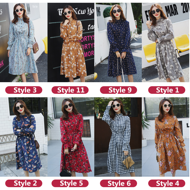 df4b0780c37 Muqisiyun Good Quality 2018 New Spring Autumn Vintage Floral Dress Women  Long Sleeve Fashion Beautiful Dresses Ladies Vestidos-in Dresses from  Women's ...