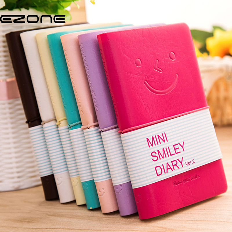 EZONE Cute Smile Face Note Book Candy Color NoteBook Colorful Blank Paper/Line Paper Notepad Creative School Office Supply Memo