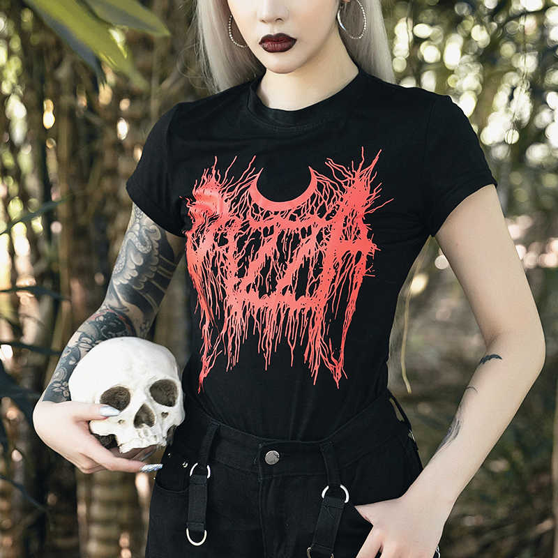 Gothique noir foncé Skinny Grunge imprimer T-shirt Goth Harajuku mode rue été 2019 femmes t-shirts o-cou esthétique T-shirt