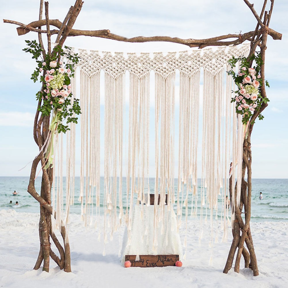Ourwarm Rustic Wedding Photo Backdrop Signature Tree Ring Box Table Runner Party Favor For Guest Boho Wedding Party Decoration