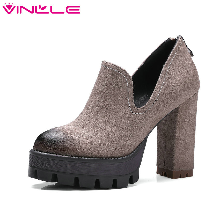 VINLLE 2017 Women Pumps Platform Western Style Zipper Women's Wedding Shoes High Heel Ladies Square Heel Pumps Big Size 34-42 vinlle 2017 women pumps college style square med heel vintage slip on pu leather shoes casual round toe girl shoes size 34 40