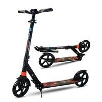 Для взрослых и детей kick скутер новый шаблон складной PU 2 колеса ручной тормоз Бодибилдинг из алюминия городской кампус транспорт