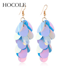 HOCOLE Fashion Boho Bling Long Drop Dangle Earrings for Women Handmade Colorful Sequins Tassel Ethnic Statement Jewelry