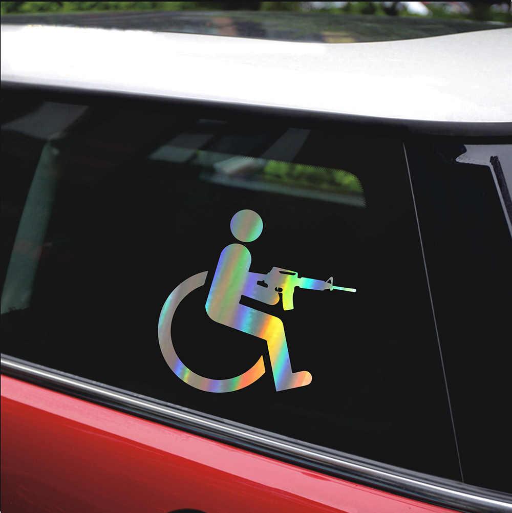 Car Sticker Styling Handicapped Wheelchair Gun Car Bumper Stickers And Decals Car Styling Decoration Door Body Window Vinyl Car Stickers Aliexpress [ 1002 x 1000 Pixel ]