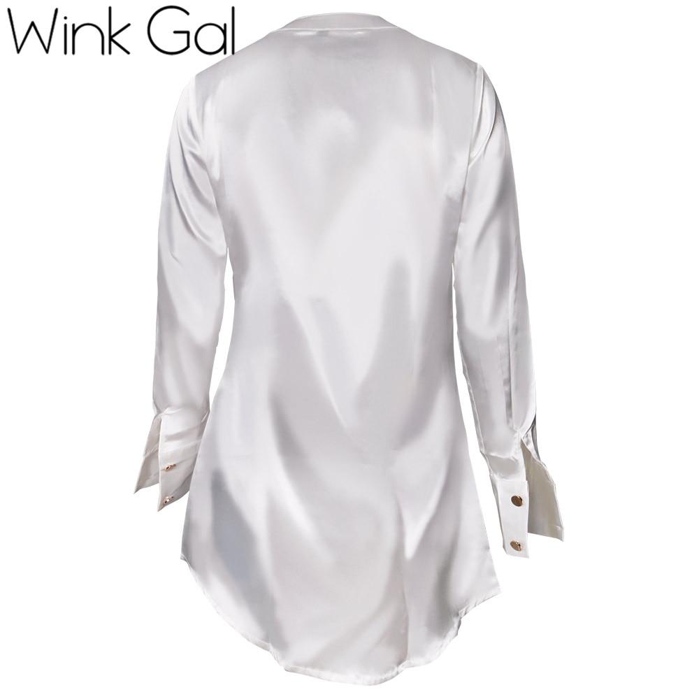 Wink Gal Casual Satin Dress Shirt Women Brief Loose Long Sleeve
