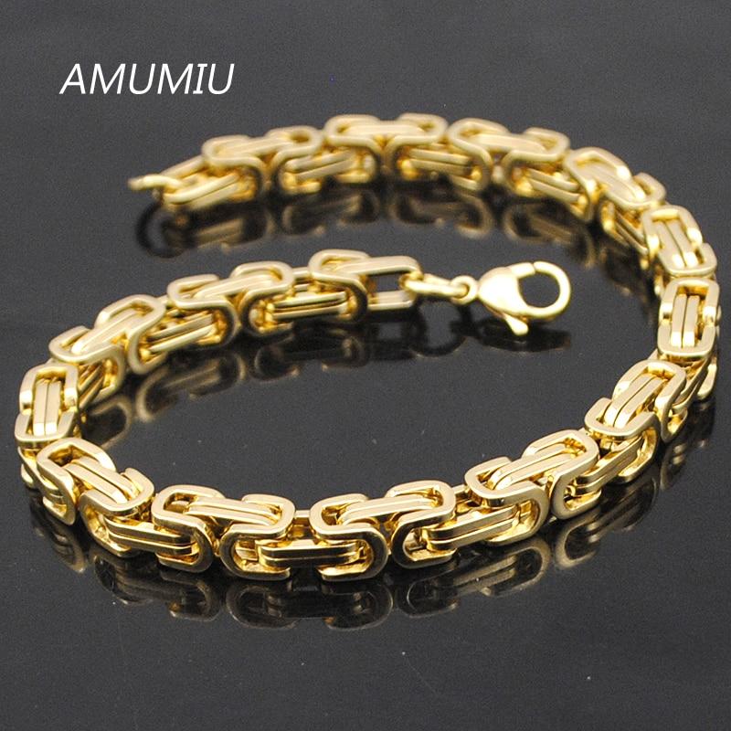 AMUMIU प्रमोशन! पुरुषों के कंगन सोने की चेन लिंक कंगन स्टेनलेस स्टील 5.5 मिमी चौड़ाई बीजान्टिन थोक उच्च गुणवत्ता KB002