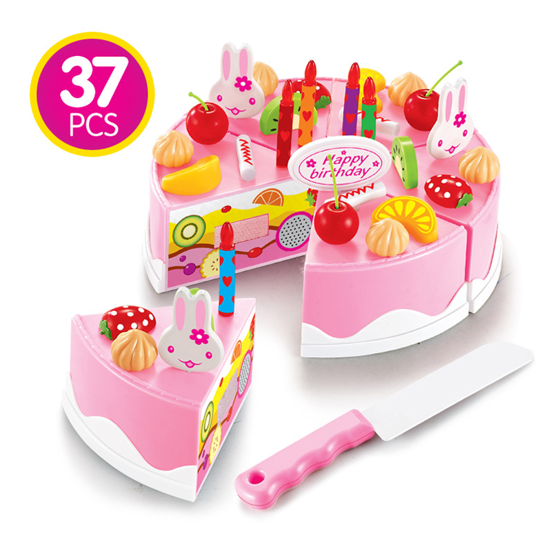 Plastic Kitchen Cutting Toys Birthday Cake Pretend Play Food Toy Set
