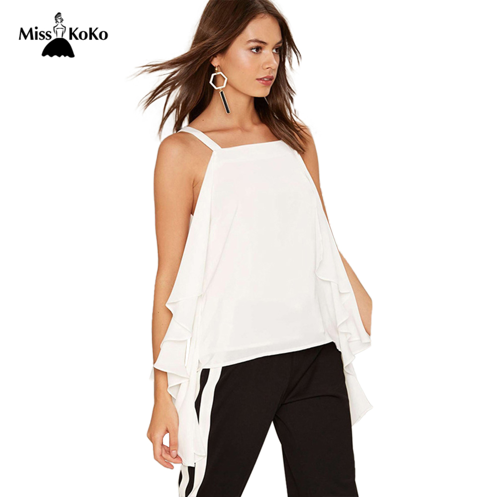 3473fc8bd9598 MissKoKo Summer Tops Women Clothing White Sleeveless Cold Shoulde Camis  Vest Brief Style Female T shirt For Women-in Camis from Women's Clothing &  ...