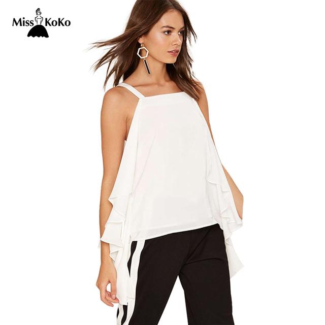 Misskoko verão encabeça mulheres clothing shoulde camis vest breve estilo feminino t-shirt sem mangas branco frio para as mulheres