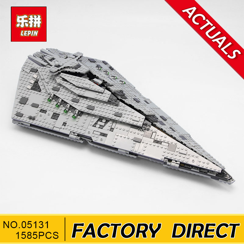 Lepin 05131 1585Pcs Star Plan Series The First order Star Model Destroyer Set 75190 Building Blocks Bricks Educational Toys Gift lepin 02020 965pcs city series the new police station set children educational building blocks bricks toys model for gift 60141