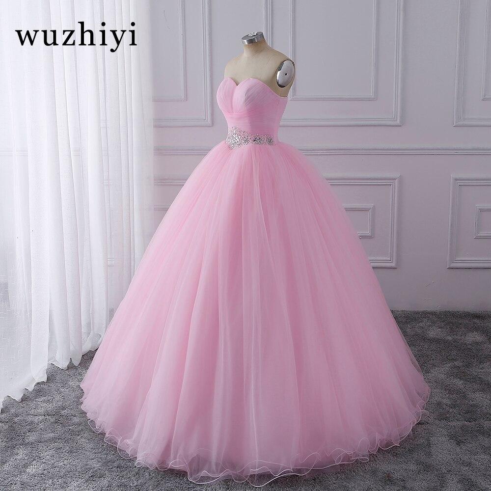 Wuzhiyi Quinceanera robes 2018 rose robe de bal vestidos de festa longo 15 anos doux 16 robe robes de Debutante robe pour la croissance - 6